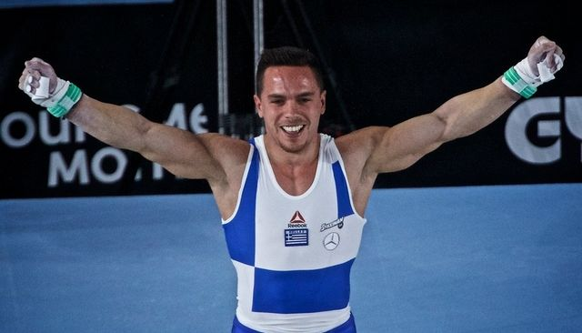 epa06251421 Eleftherios Petrounias of Greece competes in the discipline of the Men's rings  all around finals at the FIG Artistic Gymnastics World Championships in Montreal, Canada, 07 October 2017.  EPA/ANDRE PICHETTE