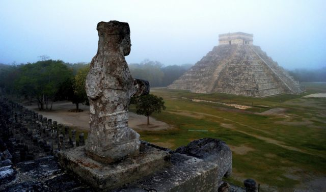 The Maya temple of Kukulkan, the feathered serpent and Mayan snake deity, is seen at the archaeological site of Chichen Itza, in the southern Mexican state of Yucatan, in this picture taken May 3, 2012 and made available to Reuters on December 17, 2012. Dec. 21 marks the end of an age in a 5,125 year-old Maya calendar, an event that is variously interpreted as the end of days, the start of a new era or just a good excuse for a party. Thousands of New Age mystics, spiritual adventurers and canny businessmen are converging on ancient ruins in southern Mexico and Guatemala to find out what will happen. Picture taken May 3, 2012. REUTERS/Mauricio Marat/National Institute of Anthropology and History (INAH)/Handout (MEXICO - Tags: SOCIETY RELIGION) FOR EDITORIAL USE ONLY. NOT FOR SALE FOR MARKETING OR ADVERTISING CAMPAIGNS. THIS IMAGE HAS BEEN SUPPLIED BY A THIRD PARTY. IT IS DISTRIBUTED, EXACTLY AS RECEIVED BY REUTERS, AS A SERVICE TO CLIENTS