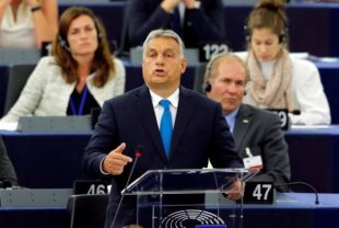Hungarian Prime Minister Viktor Orban delivers a speech during a debate on the situation in Hungary at the European Parliament in Strasbourg, France, September 11, 2018.  REUTERS/Vincent Kessler