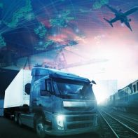 world trading with industries truck,trains,ship and air cargo freight logistic background use for all import export transportation theme