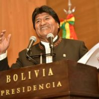 Bolivia's President Evo Morales speaks during a ceremony where government enacts a health law at the presidential palace La Casa Grande del Pueblo in La Paz, Bolivia, February 20, 2019. Enzo De Luca/Courtesy of Bolivian Presidency/Handout via REUTERS. ATTENTION EDITORS - THIS IMAGE WAS PROVIDED BY A THIRD PARTY